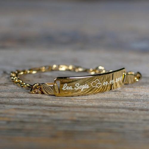 Bracelet en Argent 16 cm, plaqué or à graver