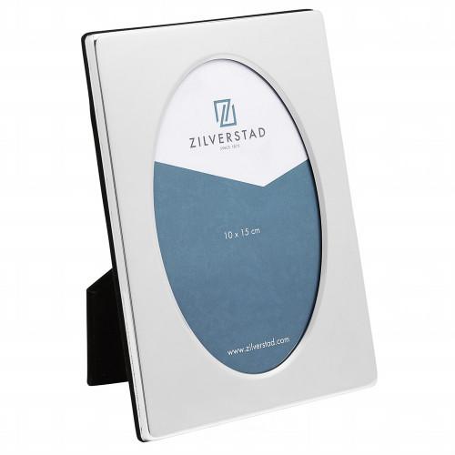 Cadre photo Oval en métal argenté brillant 10x15 13x18