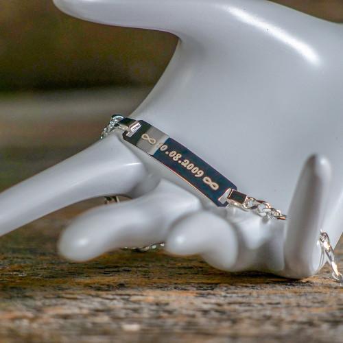 Bracelet en Argent 19 cm, couleur argent à graver