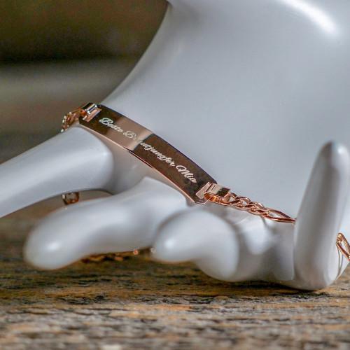 Bracelet en Argent 19 cm, couleur rosé doré à graver