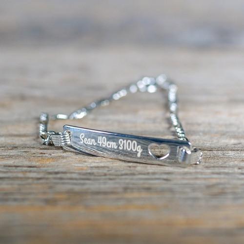 Bracelet Coeur en Argent 19 cm, couleur argent à graver