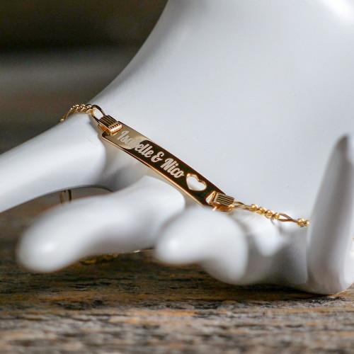 Bracelet Coeur en Argent 16 cm, plaqué or 585/1000 14 carats à graver