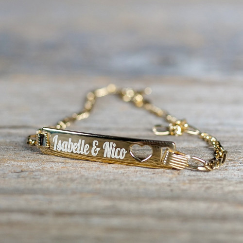 Bracelet Coeur en Argent 19 cm, plaqué or 585/1000 14 carats à graver