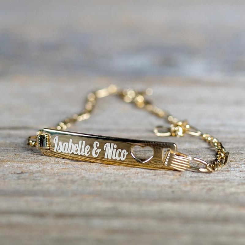 Bracelet découpe coeur en Argent 19 cm, plaqué or 585/1000 14 carats à graver