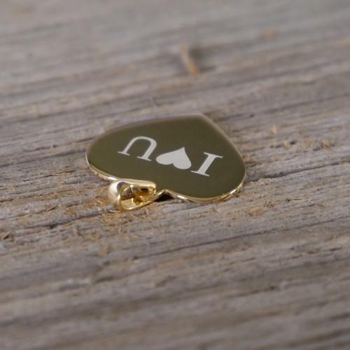 Pendentif Coeur en Argent, plaqué or 14 carats à graver