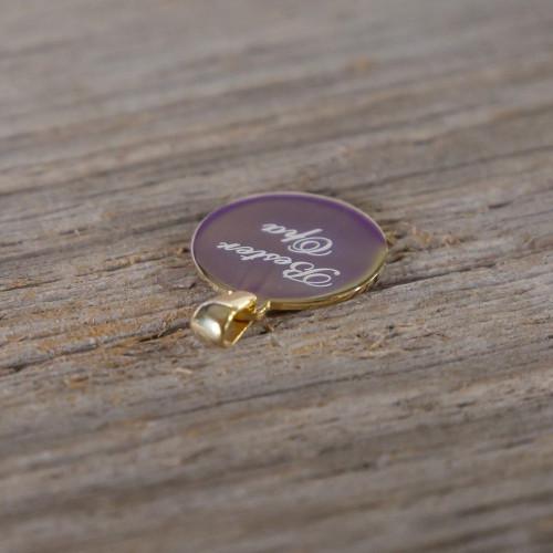 Pendentif Rond en Argent, plaqué or 14 carats à graver