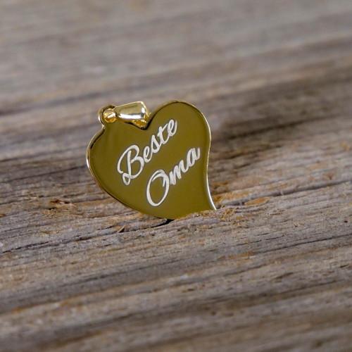 Pendentif Coeur courbé en Argent, plaqué or 14 carats à graver