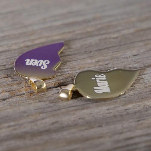 Pendentif Coeur divisé en Argent, plaqué or 14 carats à graver