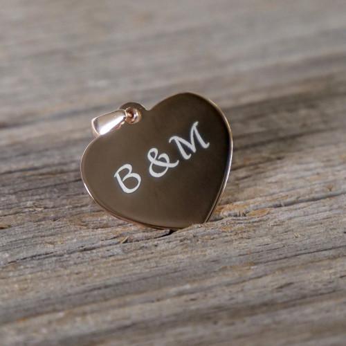 Pendentif Coeur en Argent, plaqué or rose à graver
