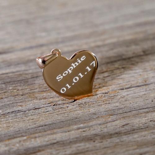 Pendentif Coeur courbé en Argent, plaqué or rose à graver