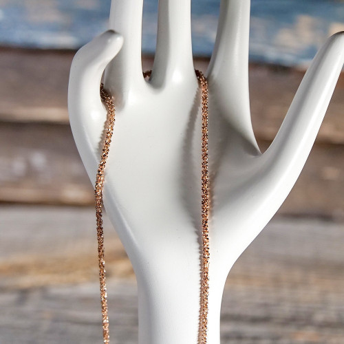 Chaîne avec anneau à ressort large en Argent, plaqué or rose