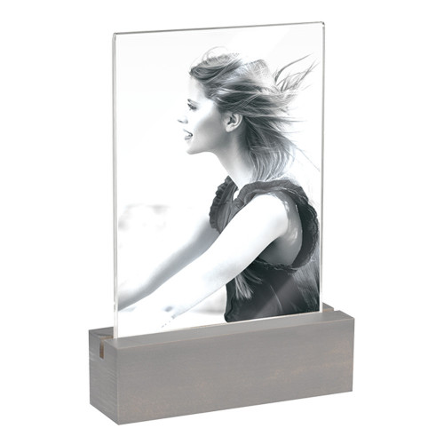 Cadre photo 10x15 socle gris vertical
