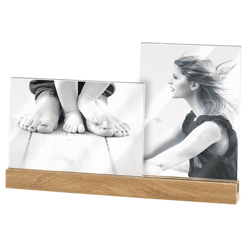 Cadre photo 10x15 Duo socle naturel