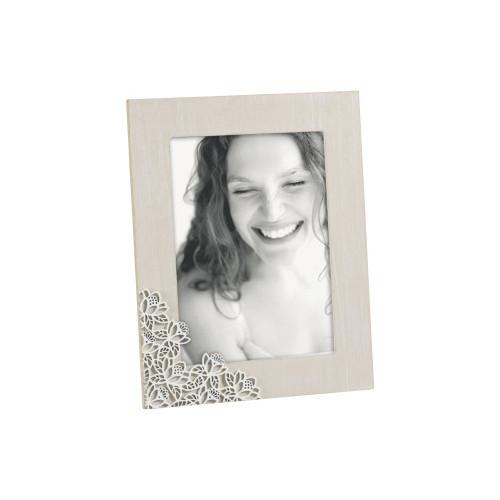Cadre photo bois Fleurs blanches 20x25