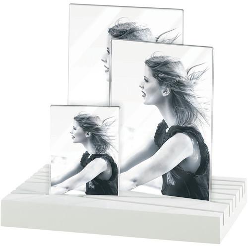 Cadre photo Triptique vertical socle blanc