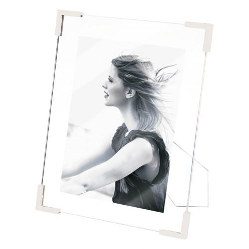 Cadre photo 15x20 G en résine angles blancs