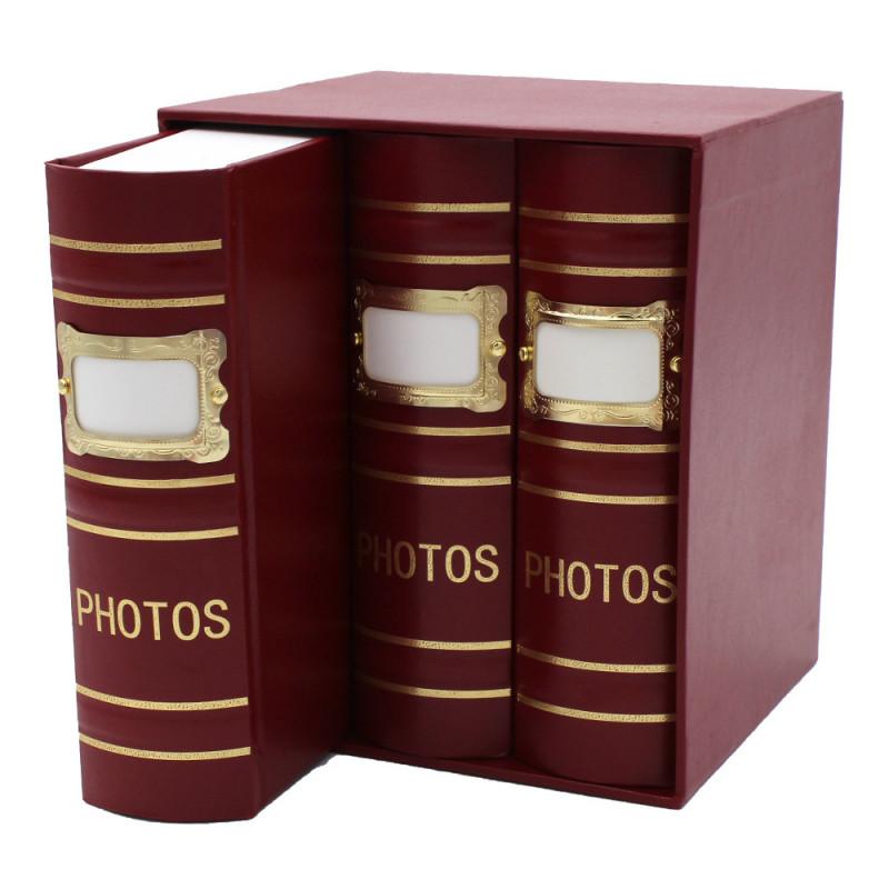Coffret de 3 albums Fashion 100 pochettes 10x15 - Bordeaux détail