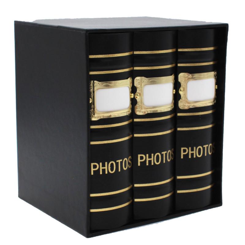 Coffret de 3 albums Fashion 100 pochettes 10x15 - Noir