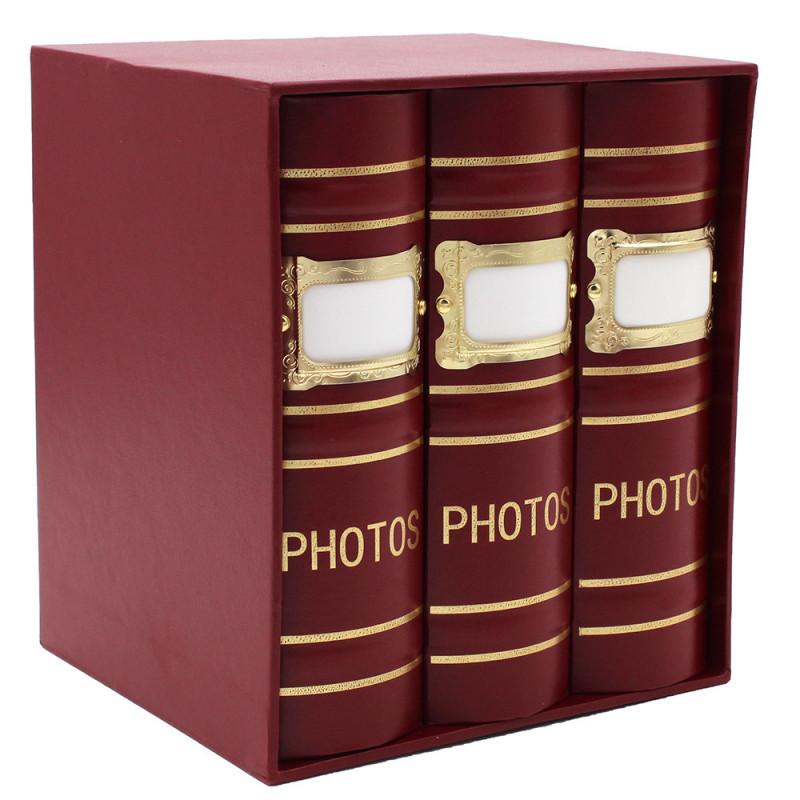 Coffret de 3 albums Fashion 100 pochettes 10x15 - Bordeaux