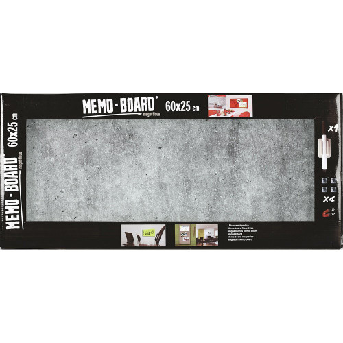 Mémo board magnétique en verre  effet Béton 25x60 cm