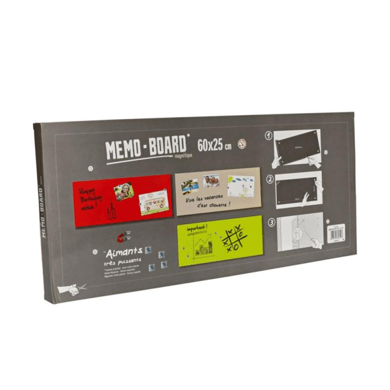 Mémo board magnétique en verre effet Pierre blanche 25x60 cm - Explication