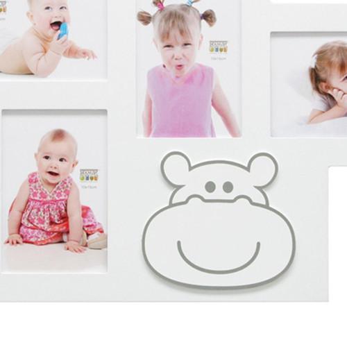Cadre photo multivues enfant Hippopotame blanc 5 vues detail