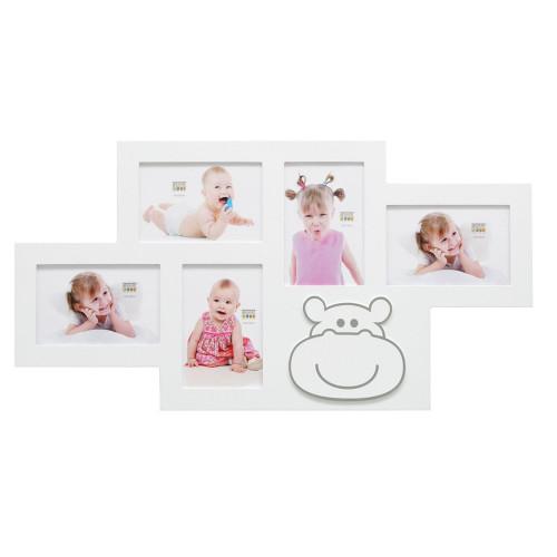 Cadre photo multivues enfant Hippopotame blanc 5 vues