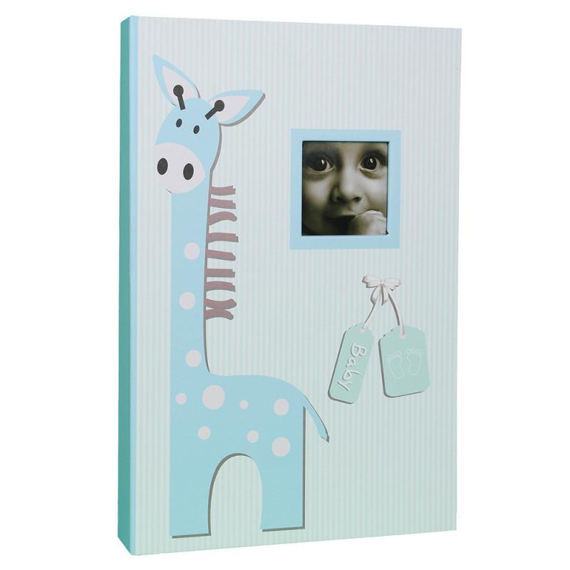 Album photo à pochettes Baby Girafe pour 300 photos 10x15-bleu