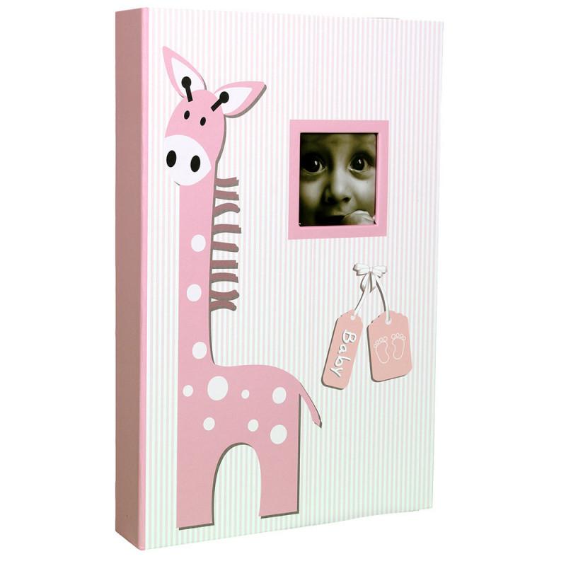 Album photo à pochettes Baby Girafe pour 300 photos 10x15-rose