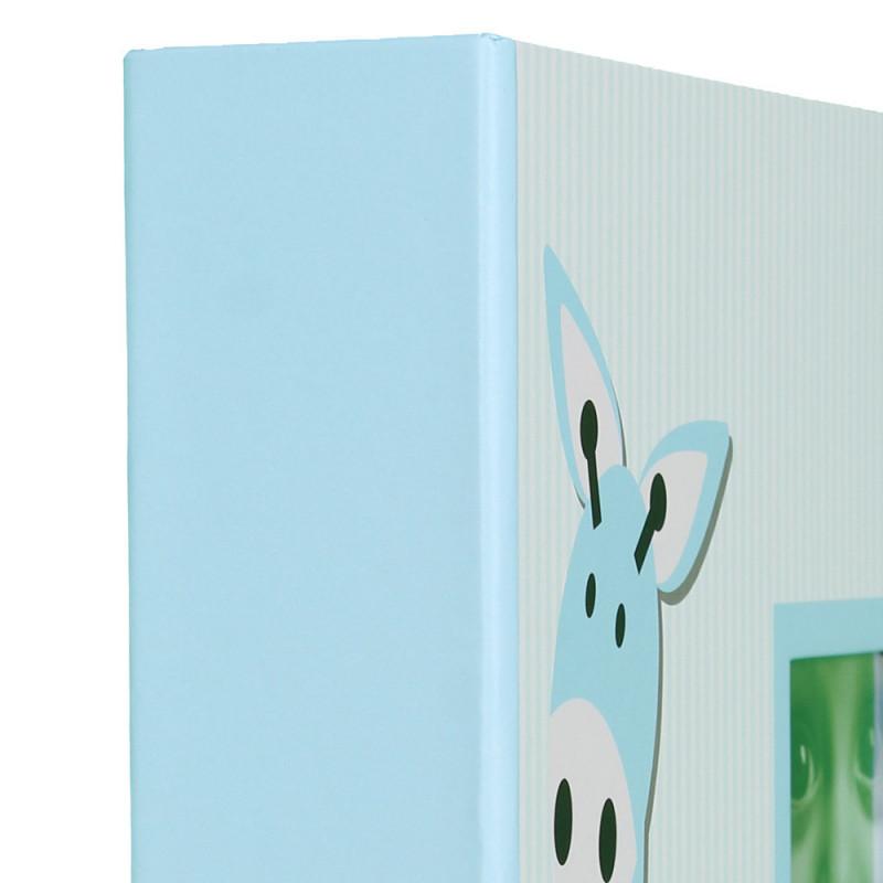 Album photo à pochettes Baby Girafe pour 300 photos 10x15-bleu-tranche