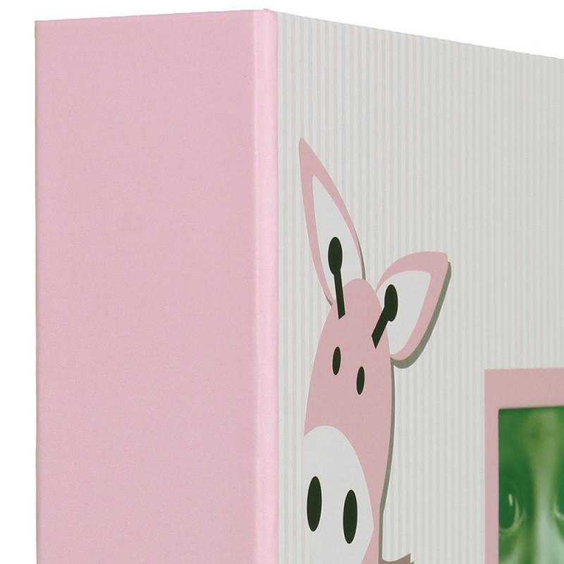 Album photo à pochettes Baby Girafe pour 300 photos 10x15-tranche-rose