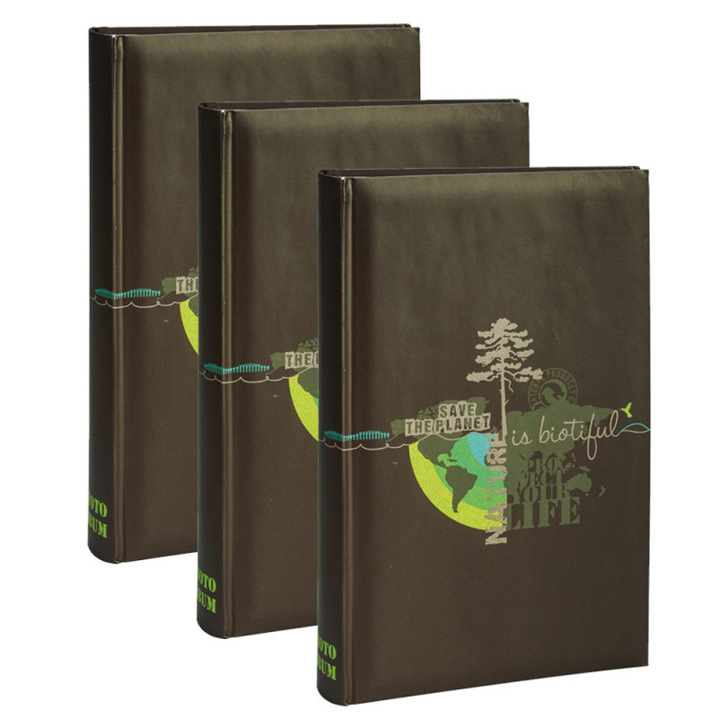 Lot de 3 albums photo Biotiful brun 300 pochettes 11,5X15