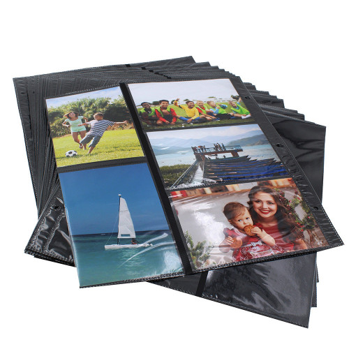 Lot de 40 feuillets noirs pour classeurs photo 11x15 à pochette