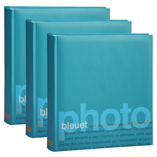Lot de 3 albums photo Erica Words bleuet pour 200 photos 11.5x15