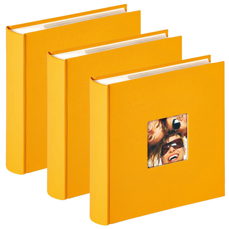 Lot de 3 albums photo Fun Jaune 200 pochettes 10x15