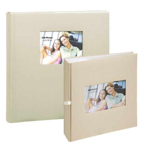 Lot de deux albums à pochettes Square beige pour 500 et 200 photos 11.5x15