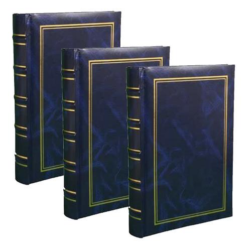 Lot de 3 Albums photo à pochettes Marbré bleu pour 200 photos 11x15