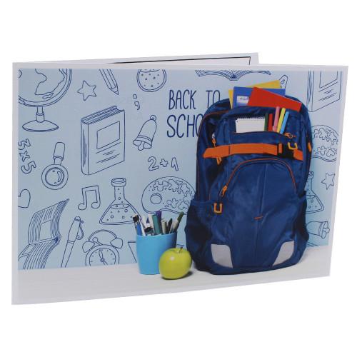 Cartonnage photo scolaire - Groupe 20x30 -18x25 - Cartable bleu