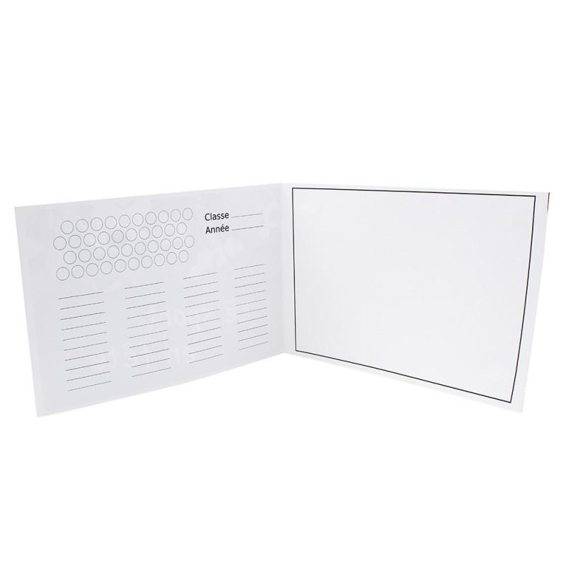 Cartonnage photo scolaire - Groupe 20x30 -18x25 - Cartable bleu-interieur sans photo