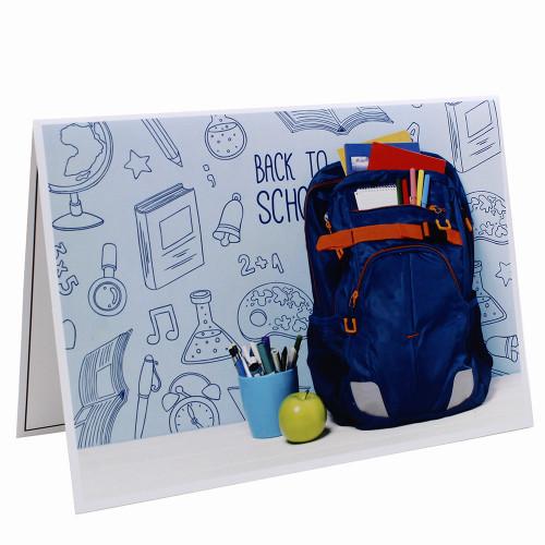 Cartonnage photo scolaire - Groupe 20x30 - Cartable bleu