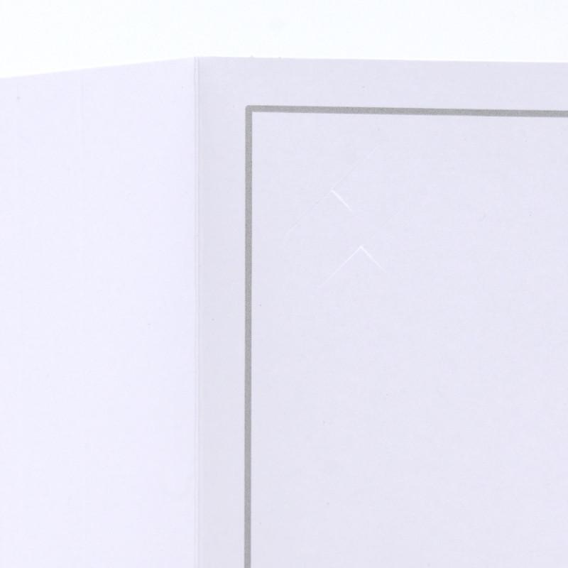 Cartonnage photo blanc-Liseré bleu clair-intérieur