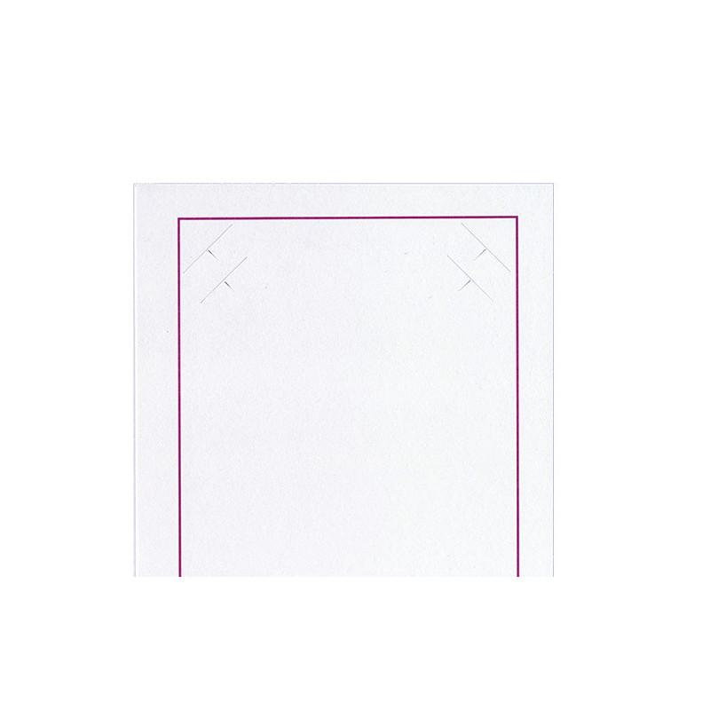 Cartonnage photo blanc-Liseré grenat-detailrieur