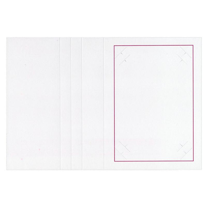 Cartonnage photo blanc-Liseré grenat