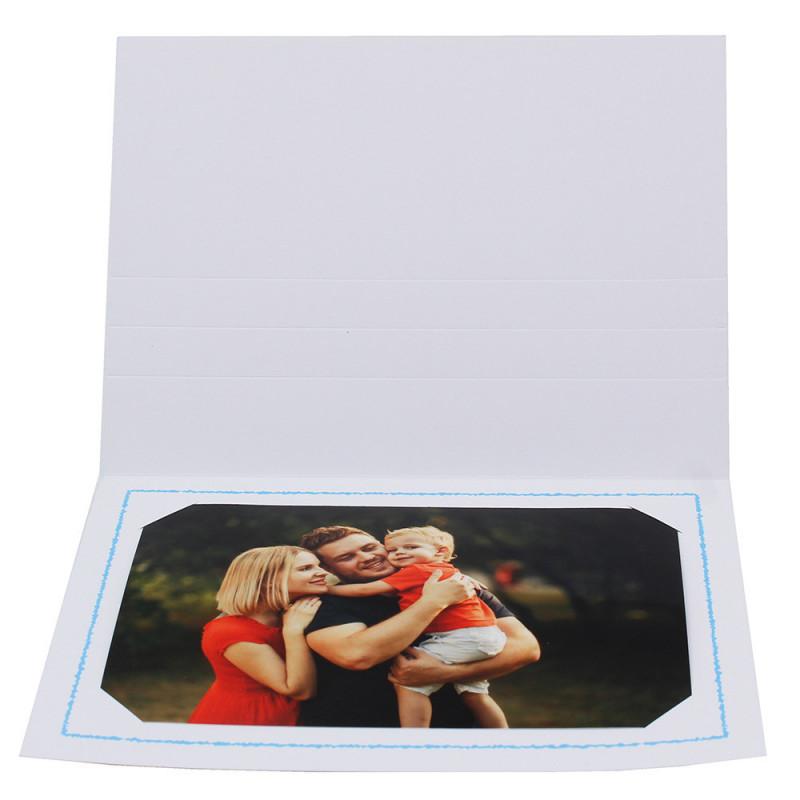 Cartonnage photo Thionville 10x15-9x13 blanc-horizontal-liseré bleu clair