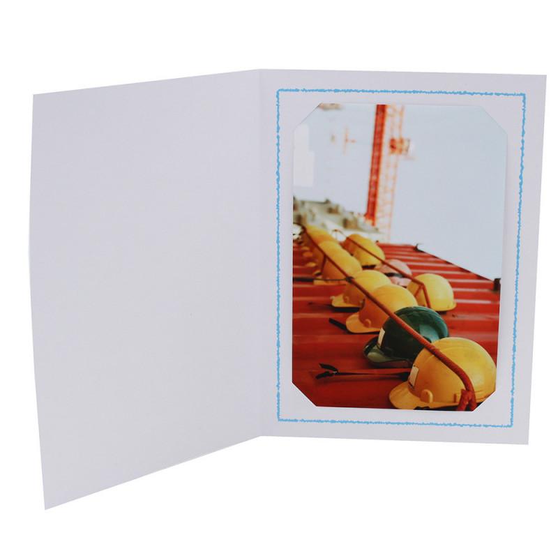 Cartonnage photo Thionville 10x15-9x13 blanc-vertical-liseré bleu clair