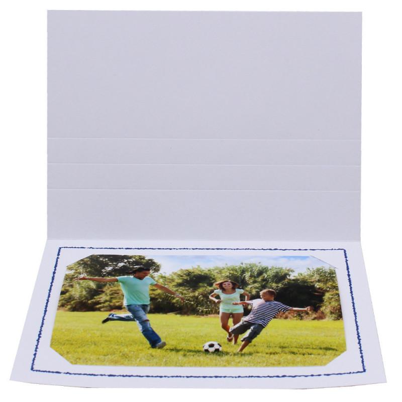 Cartonnage photo Thionville 10x15-9x13 blanc-horizontal-liseré bleu foncé