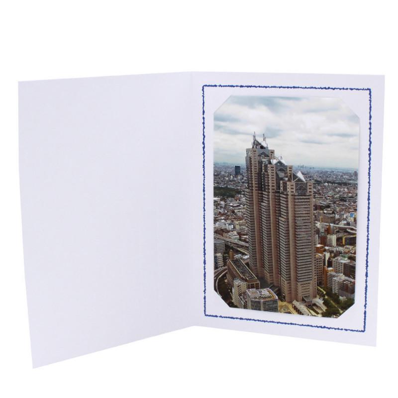 Cartonnage photo Thionville 10x15-9x13 blanc-vertical-liseré bleu foncé