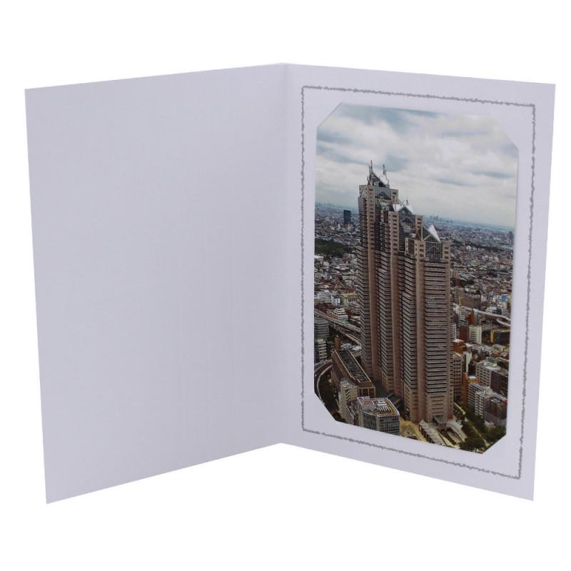 Cartonnage photo Thionville 10x15-9x13 blanc-vertical-liseré gris