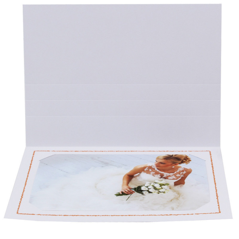 Cartonnage photo Thionville 10x15-9x13 blanc-horizontal-liseré orange