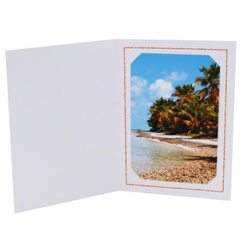 Cartonnage photo Thionville 10x15-9x13 blanc-vertical-liseré orange